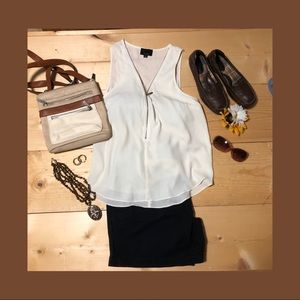 Lumiere zippered tank top blouse